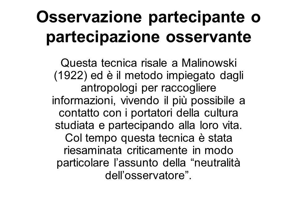 Osservazione partecipante o partecipazione osservante