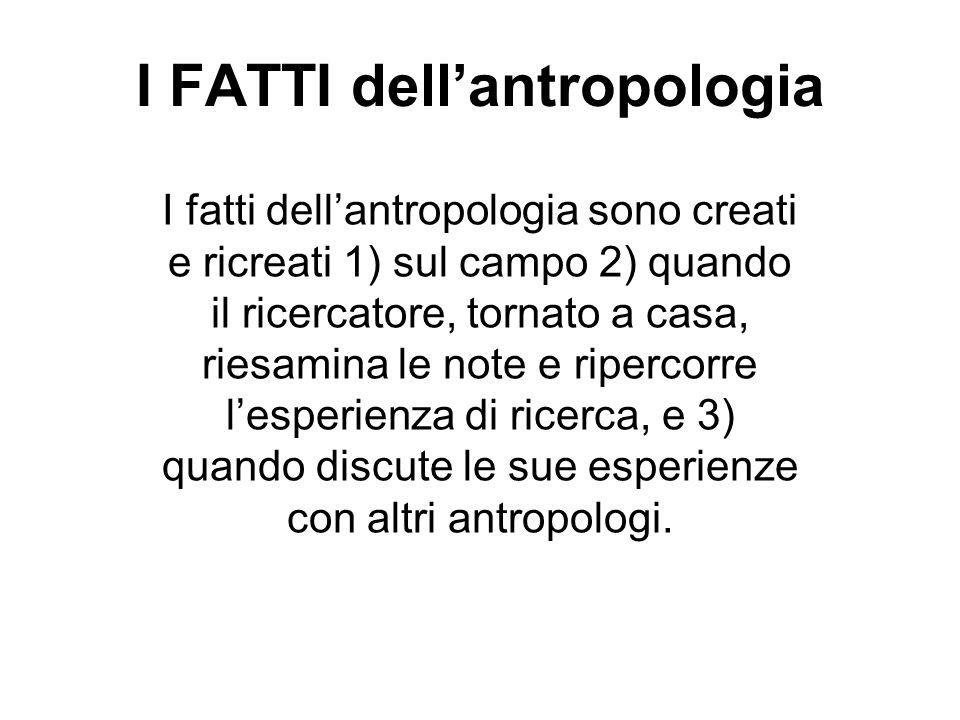 I FATTI dell'antropologia