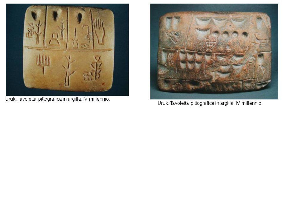 Uruk. Tavoletta pittografica in argilla. IV millennio.
