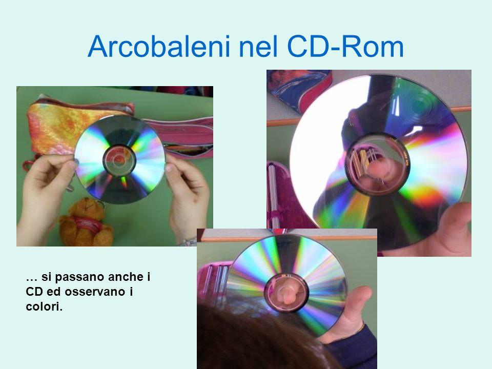 Arcobaleni nel CD-Rom … si passano anche i CD ed osservano i colori.