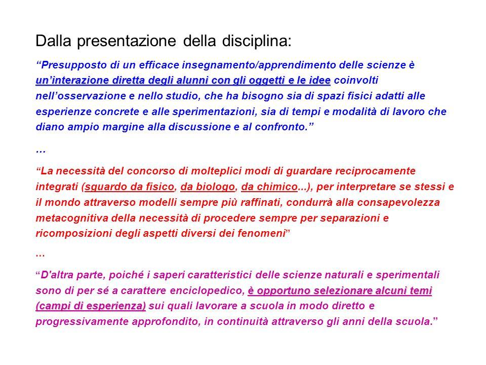 Dalla presentazione della disciplina: