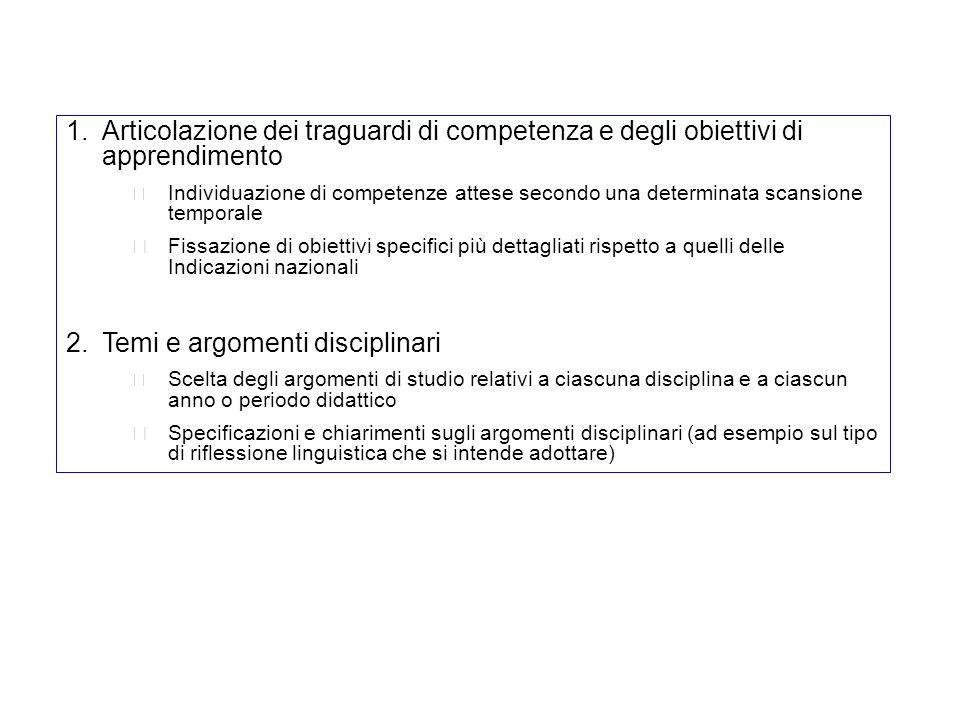 Temi e argomenti disciplinari