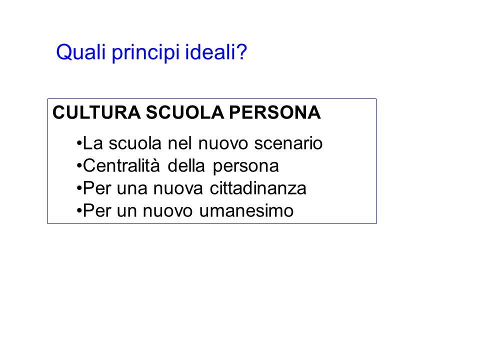 Quali principi ideali CULTURA SCUOLA PERSONA