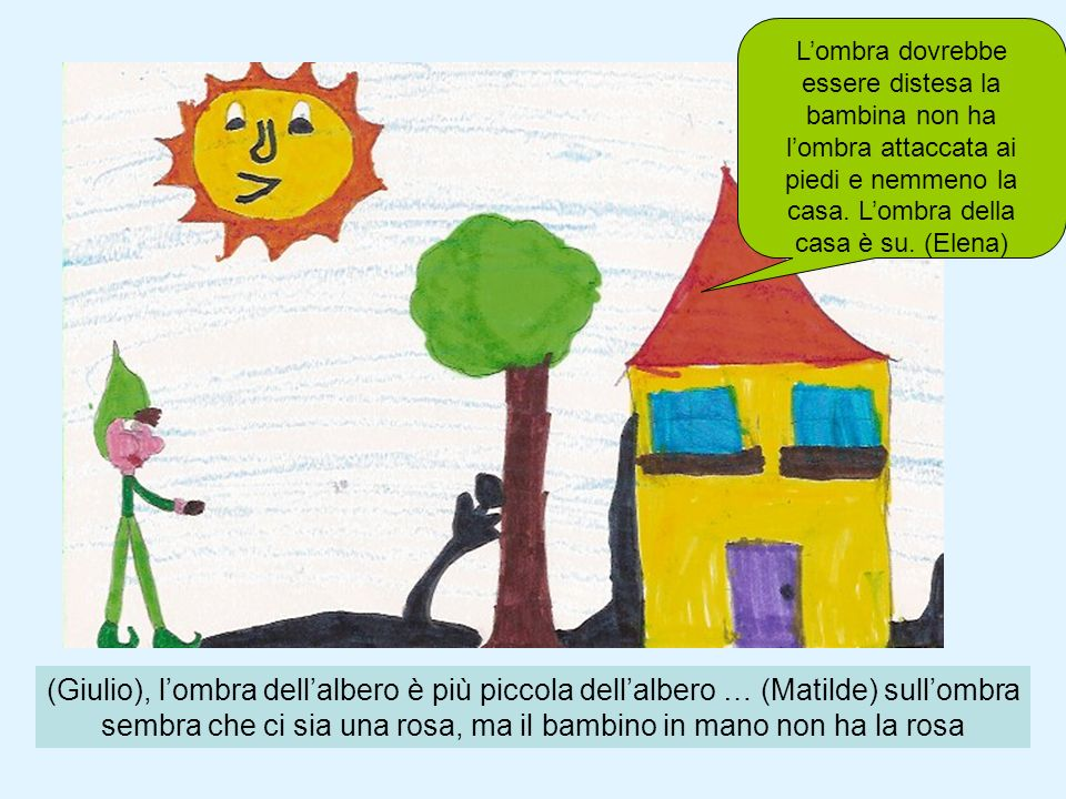 L'ombra dovrebbe essere distesa la bambina non ha l'ombra attaccata ai piedi e nemmeno la casa. L'ombra della casa è su. (Elena)