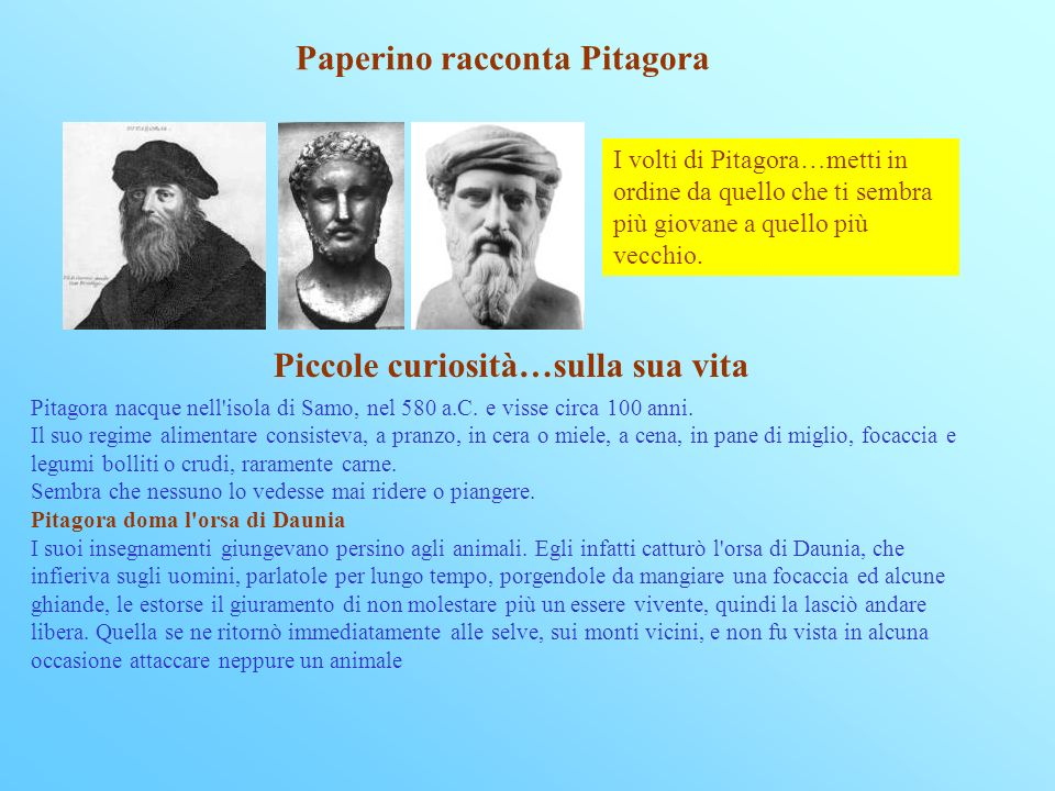 Paperino racconta Pitagora Piccole curiosità…sulla sua vita