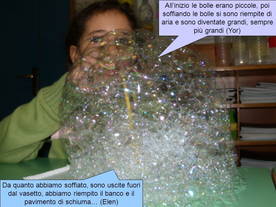 All'inizio le bolle erano piccole, poi soffiando le bolle si sono riempite di aria e sono diventate grandi, sempre più grandi (Yor)