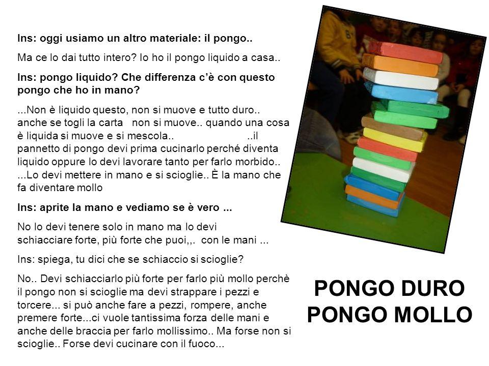 PONGO DURO PONGO MOLLO Ins: oggi usiamo un altro materiale: il pongo..