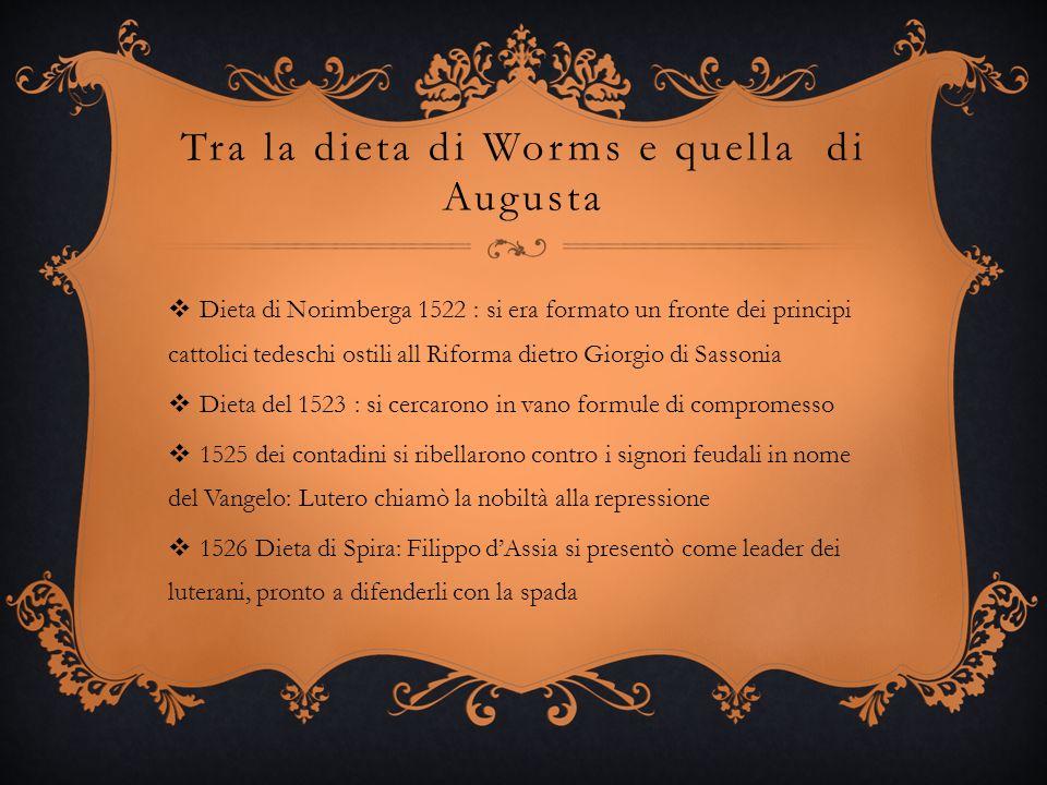Tra la dieta di Worms e quella di Augusta