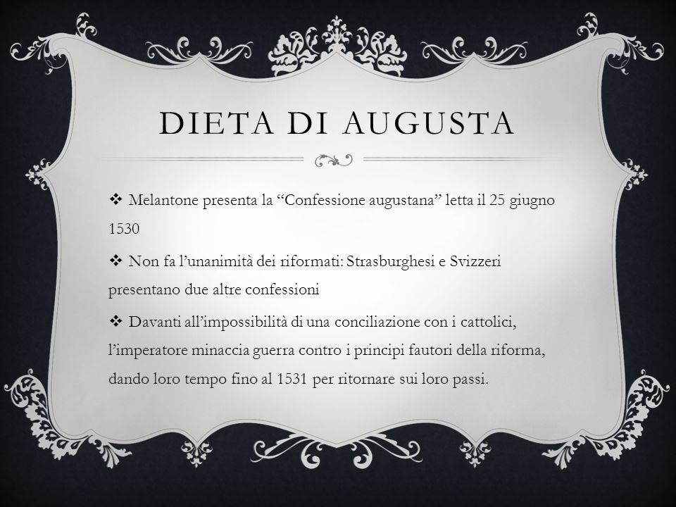 Dieta di Augusta Melantone presenta la Confessione augustana letta il 25 giugno 1530.