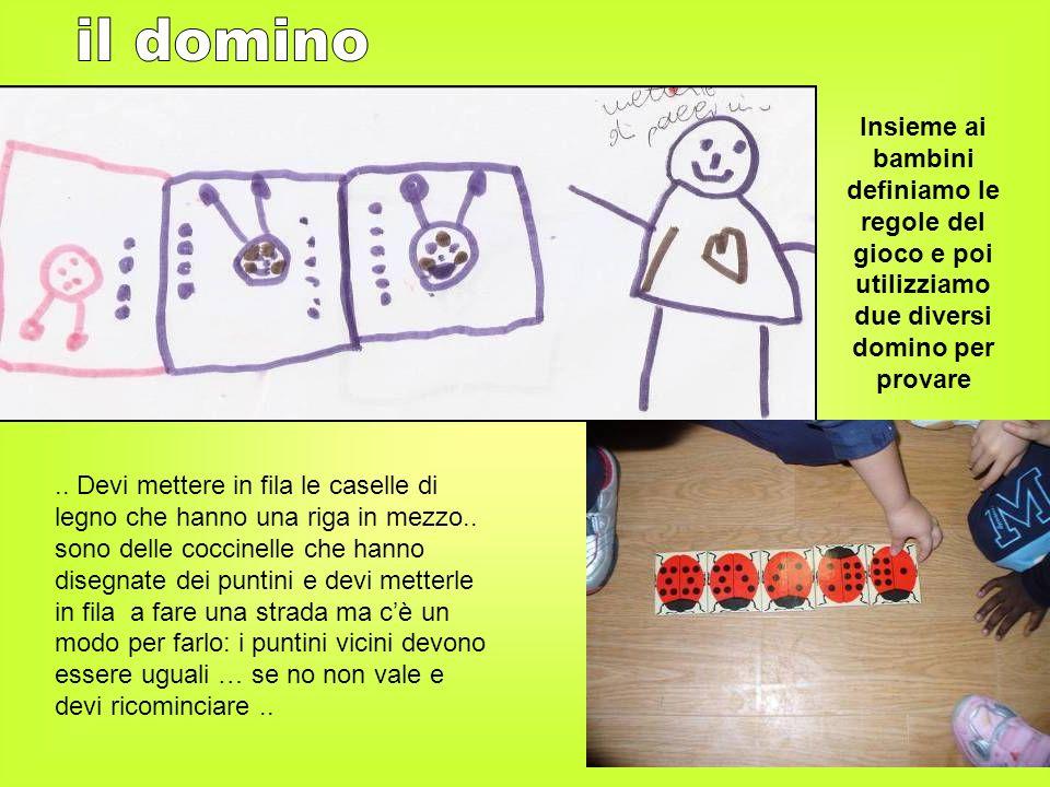 il dominoInsieme ai bambini definiamo le regole del gioco e poi utilizziamo due diversi domino per provare.