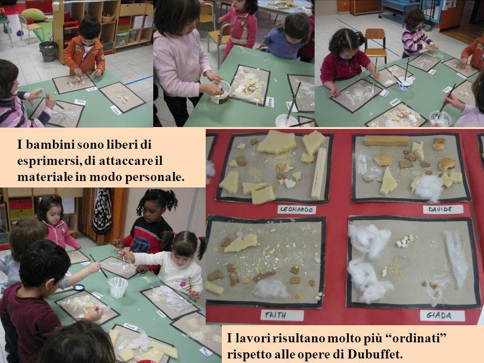I bambini sono liberi di esprimersi, di attaccare il materiale in modo personale.
