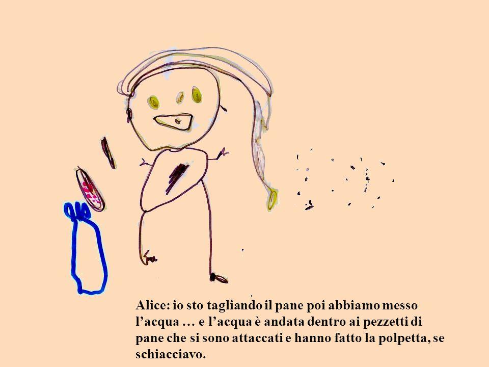 Alice: io sto tagliando il pane poi abbiamo messo l'acqua … e l'acqua è andata dentro ai pezzetti di pane che si sono attaccati e hanno fatto la polpetta, se schiacciavo.