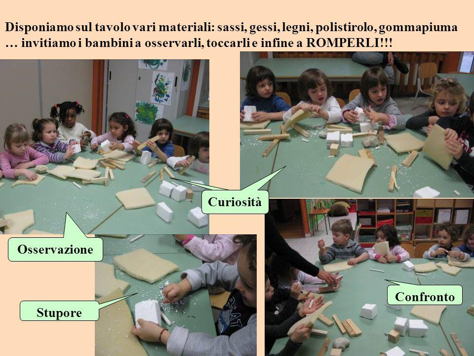 Disponiamo sul tavolo vari materiali: sassi, gessi, legni, polistirolo, gommapiuma … invitiamo i bambini a osservarli, toccarli e infine a ROMPERLI!!!