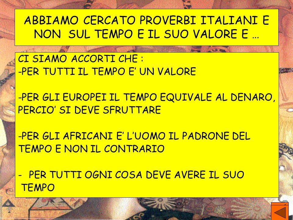 ABBIAMO CERCATO PROVERBI ITALIANI E NON SUL TEMPO E IL SUO VALORE E …