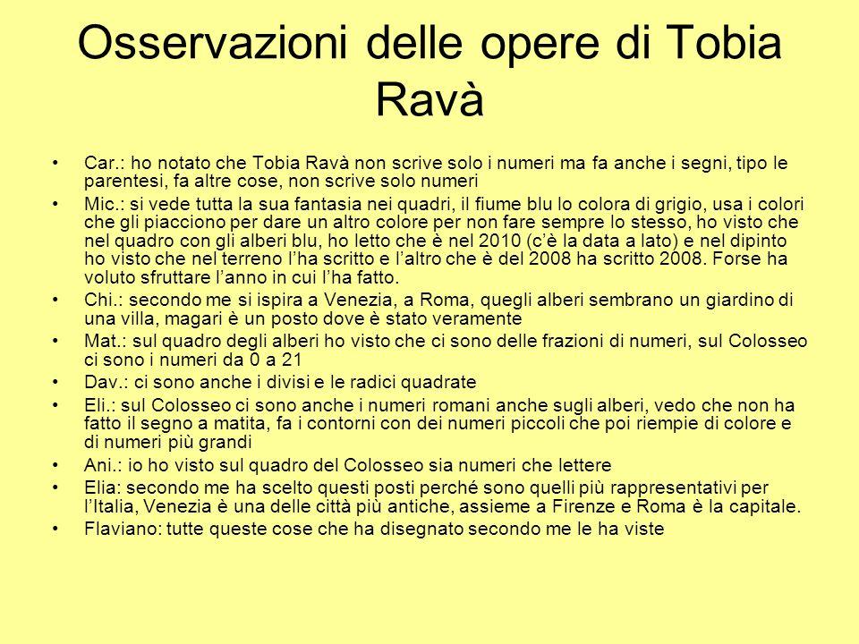 Osservazioni delle opere di Tobia Ravà