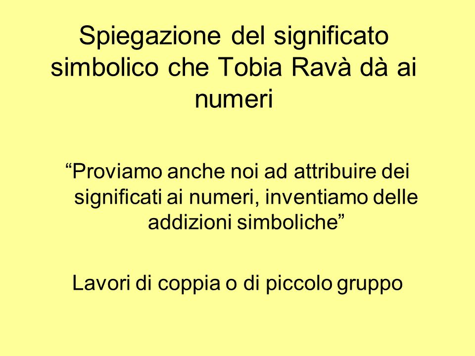 Spiegazione del significato simbolico che Tobia Ravà dà ai numeri