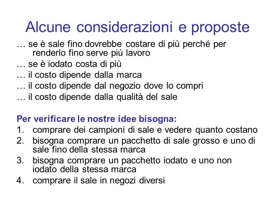 Alcune considerazioni e proposte