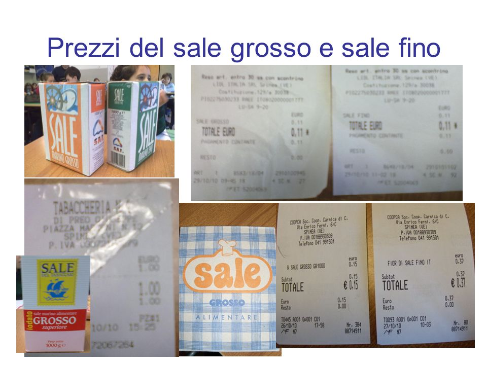 Prezzi del sale grosso e sale fino