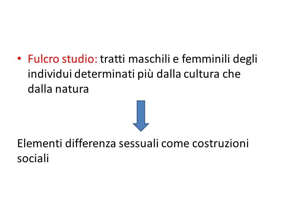 Fulcro studio: tratti maschili e femminili degli individui determinati più dalla cultura che dalla natura