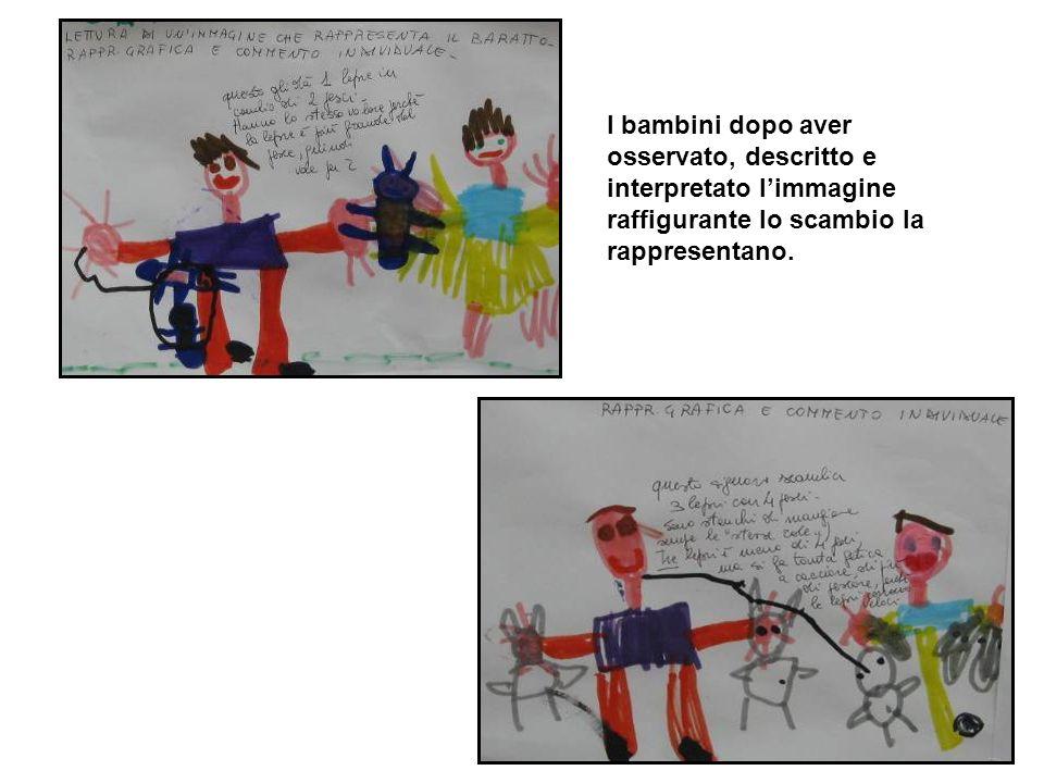 I bambini dopo aver osservato, descritto e interpretato l'immagine raffigurante lo scambio la rappresentano.