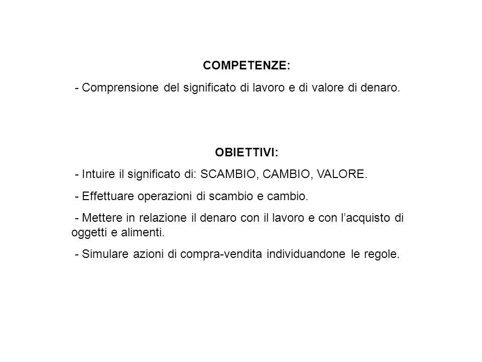 COMPETENZE: - Comprensione del significato di lavoro e di valore di denaro. OBIETTIVI: - Intuire il significato di: SCAMBIO, CAMBIO, VALORE.