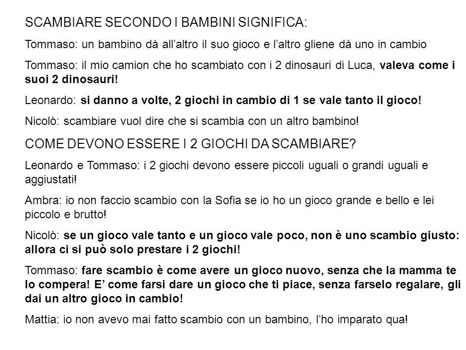 SCAMBIARE SECONDO I BAMBINI SIGNIFICA: