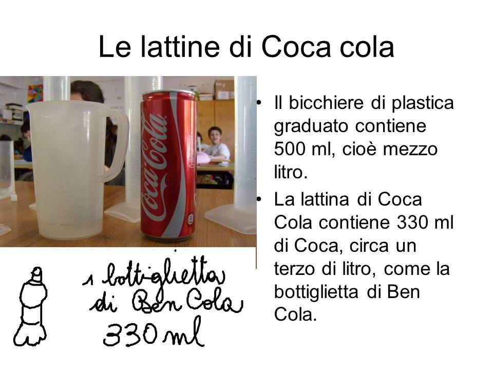 Le lattine di Coca colaIl bicchiere di plastica graduato contiene 500 ml, cioè mezzo litro.