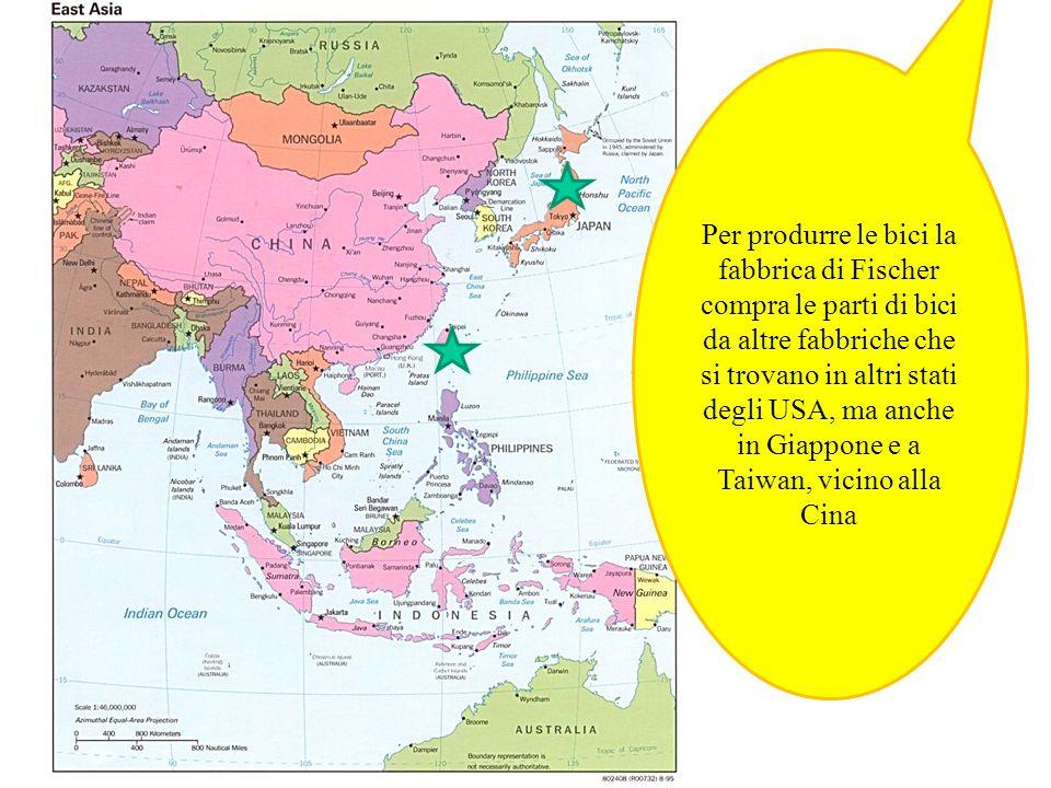 Per produrre le bici la fabbrica di Fischer compra le parti di bici da altre fabbriche che si trovano in altri stati degli USA, ma anche in Giappone e a Taiwan, vicino alla Cina