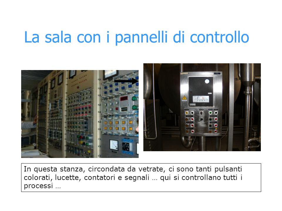 La sala con i pannelli di controllo