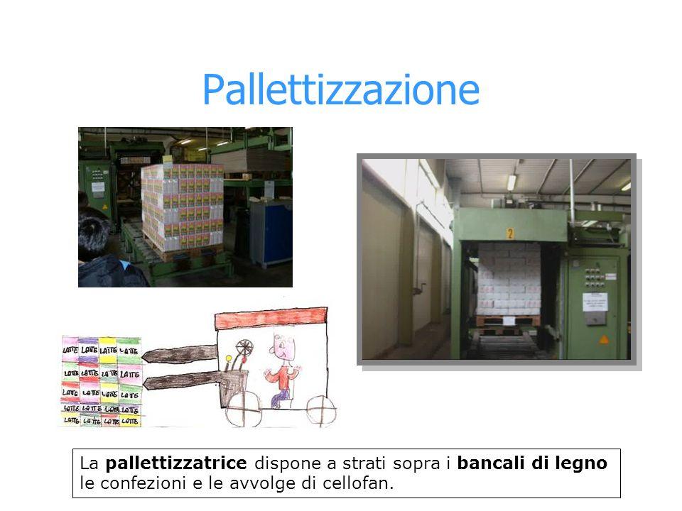 Pallettizzazione La pallettizzatrice dispone a strati sopra i bancali di legno le confezioni e le avvolge di cellofan.
