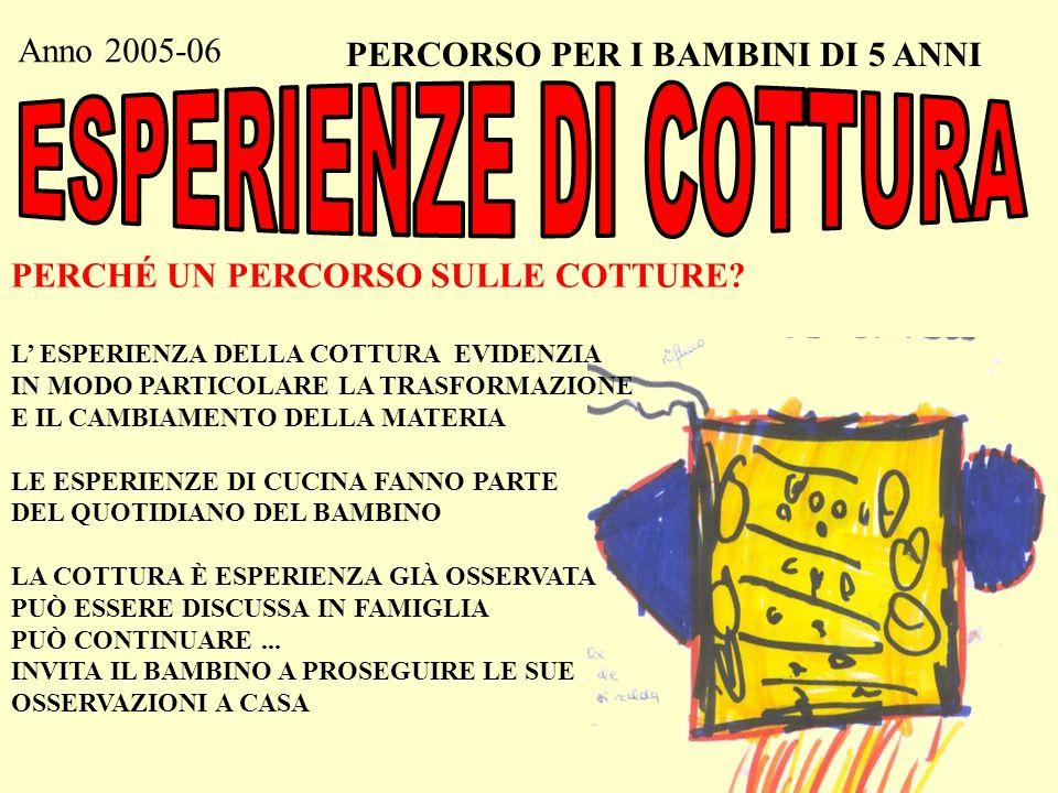 ESPERIENZE DI COTTURA Anno 2005-06 PERCORSO PER I BAMBINI DI 5 ANNI