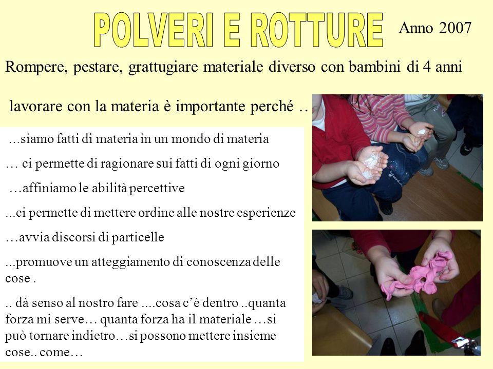 POLVERI E ROTTURE Anno 2007. Rompere, pestare, grattugiare materiale diverso con bambini di 4 anni.