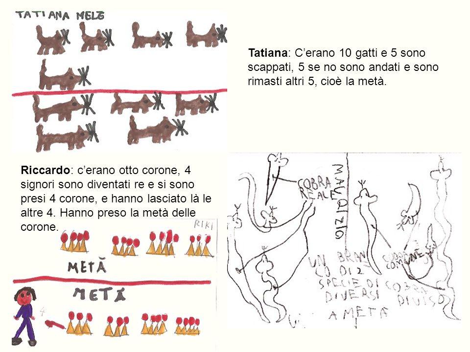Tatiana: C'erano 10 gatti e 5 sono scappati, 5 se no sono andati e sono rimasti altri 5, cioè la metà.