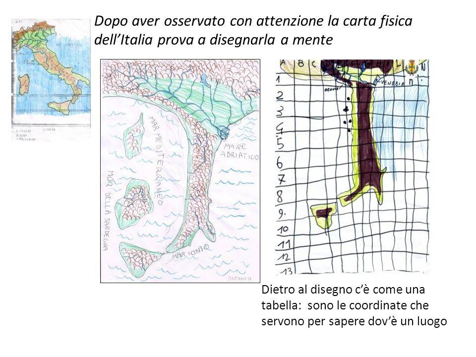 Dopo aver osservato con attenzione la carta fisica dell'Italia prova a disegnarla a mente