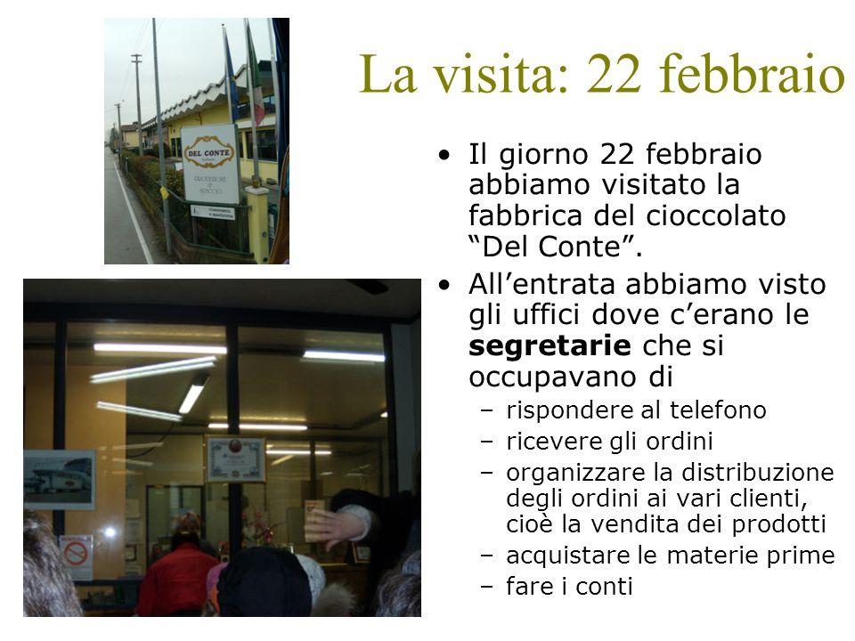 La visita: 22 febbraio Il giorno 22 febbraio abbiamo visitato la fabbrica del cioccolato Del Conte .