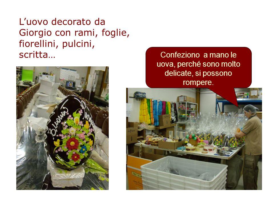 L'uovo decorato da Giorgio con rami, foglie, fiorellini, pulcini, scritta…