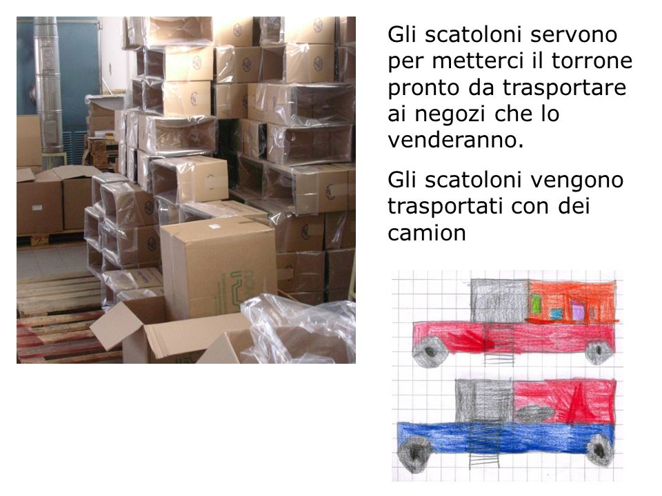 Gli scatoloni servono per metterci il torrone pronto da trasportare ai negozi che lo venderanno.