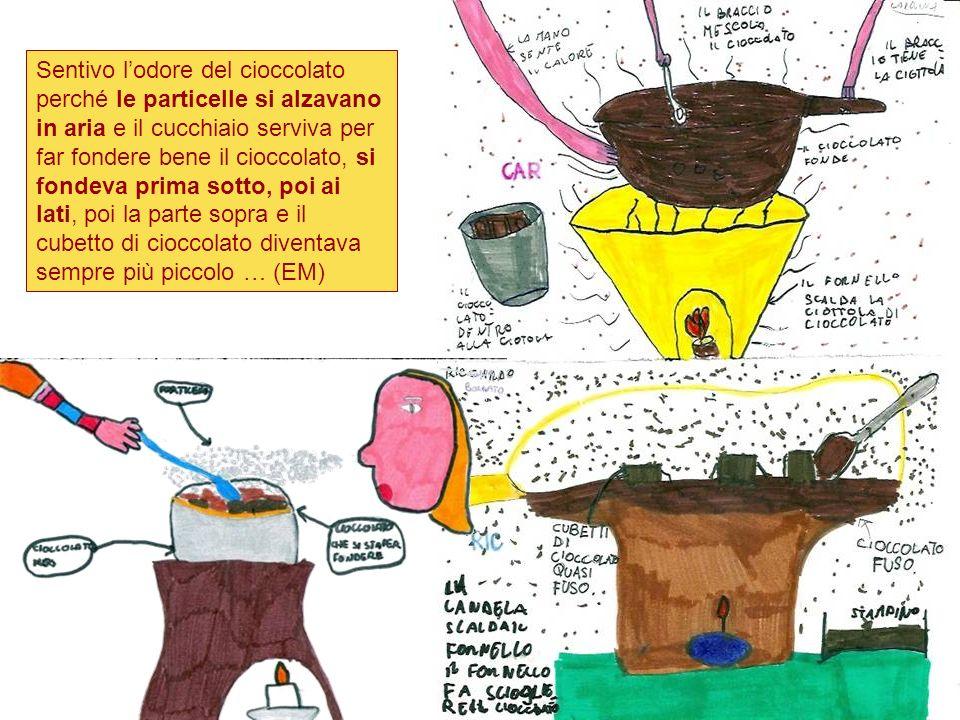 Sentivo l'odore del cioccolato perché le particelle si alzavano in aria e il cucchiaio serviva per far fondere bene il cioccolato, si fondeva prima sotto, poi ai lati, poi la parte sopra e il cubetto di cioccolato diventava sempre più piccolo … (EM)