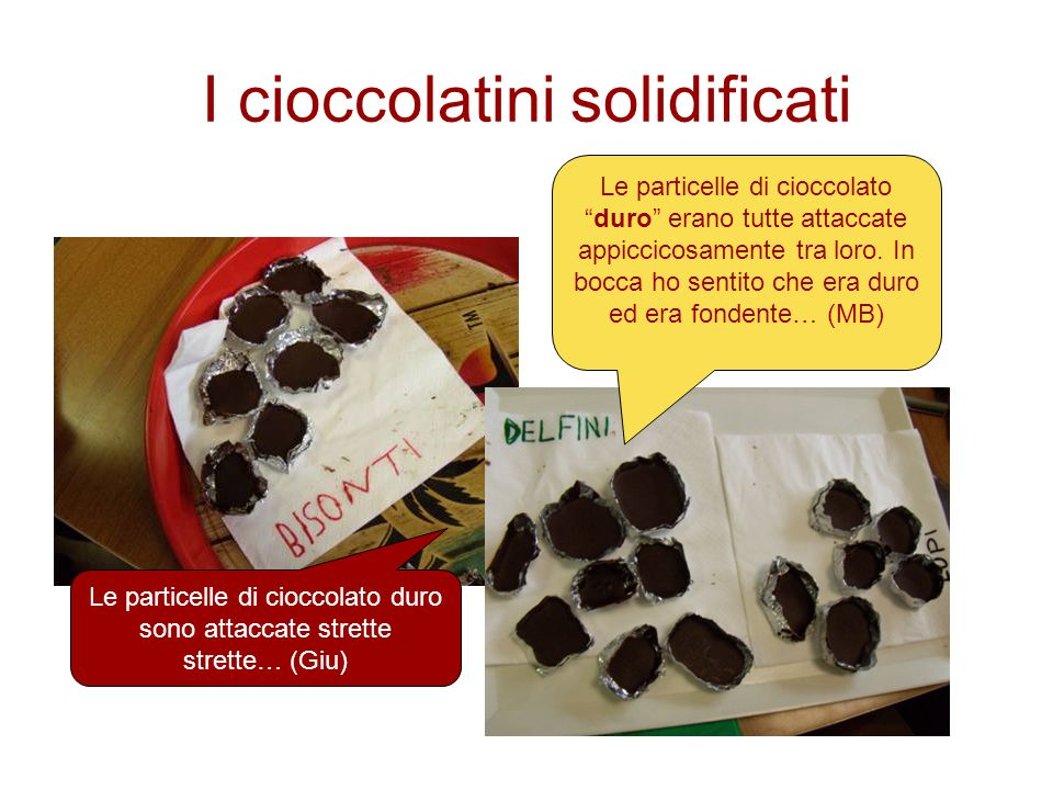 I cioccolatini solidificati