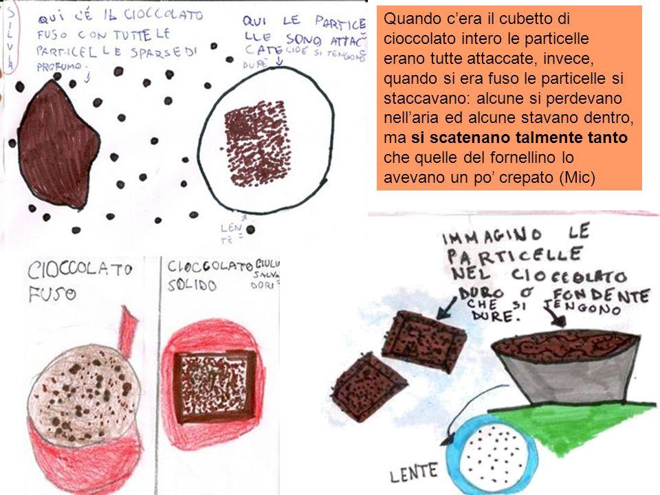 Quando c'era il cubetto di cioccolato intero le particelle erano tutte attaccate, invece, quando si era fuso le particelle si staccavano: alcune si perdevano nell'aria ed alcune stavano dentro, ma si scatenano talmente tanto che quelle del fornellino lo avevano un po' crepato (Mic)