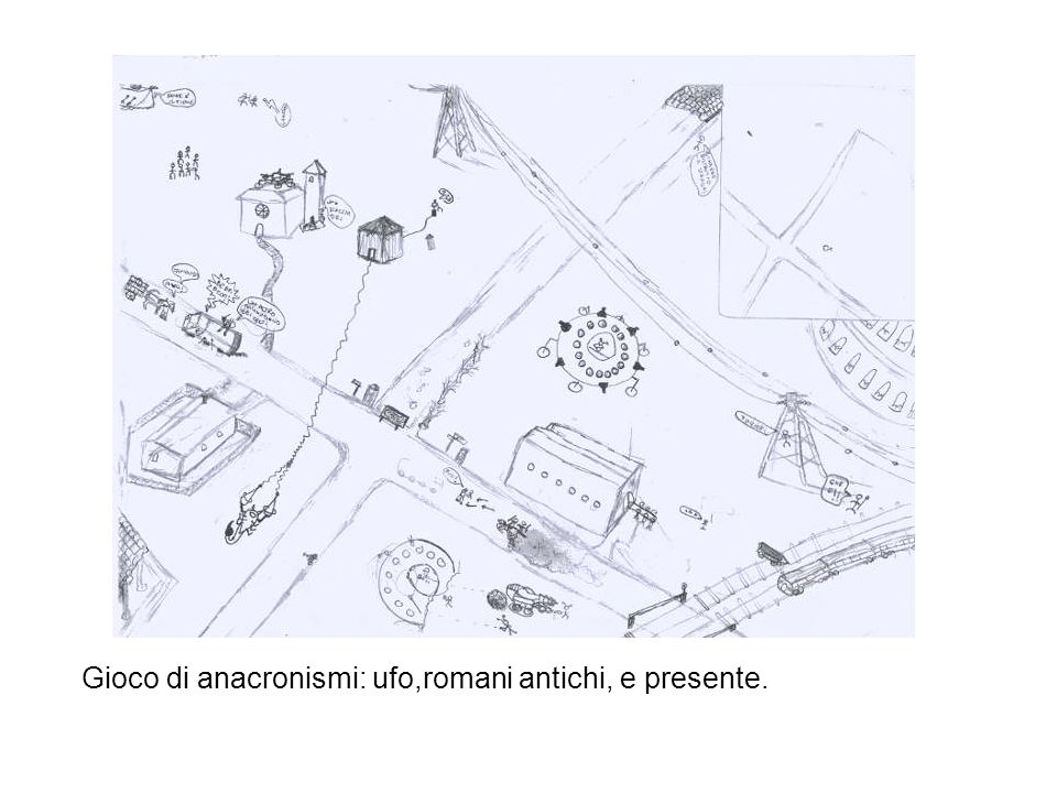 Gioco di anacronismi: ufo,romani antichi, e presente.