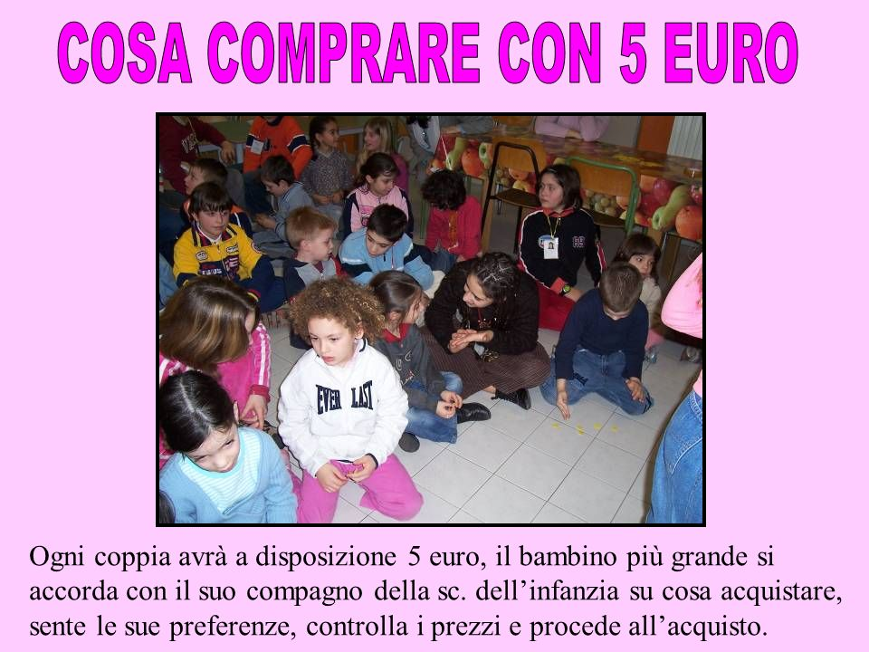 COSA COMPRARE CON 5 EURO Ogni coppia avrà a disposizione 5 euro, il bambino più grande si.