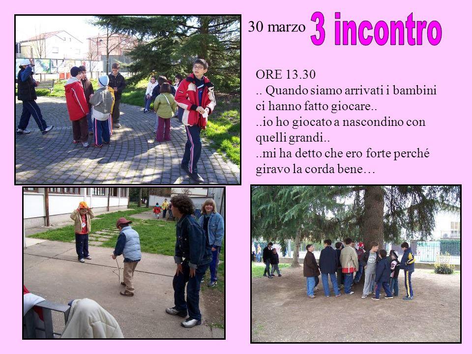 30 marzo 3 incontro. ORE 13.30. .. Quando siamo arrivati i bambini ci hanno fatto giocare.. ..io ho giocato a nascondino con quelli grandi..