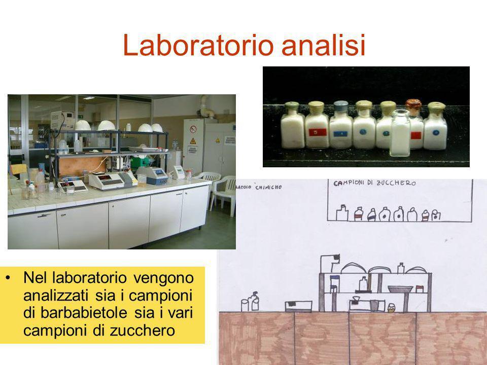 Laboratorio analisi Nel laboratorio vengono analizzati sia i campioni di barbabietole sia i vari campioni di zucchero.