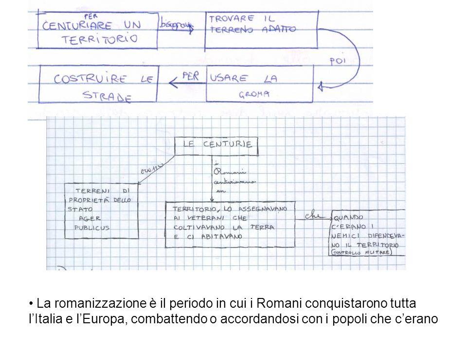 La romanizzazione è il periodo in cui i Romani conquistarono tutta l'Italia e l'Europa, combattendo o accordandosi con i popoli che c'erano
