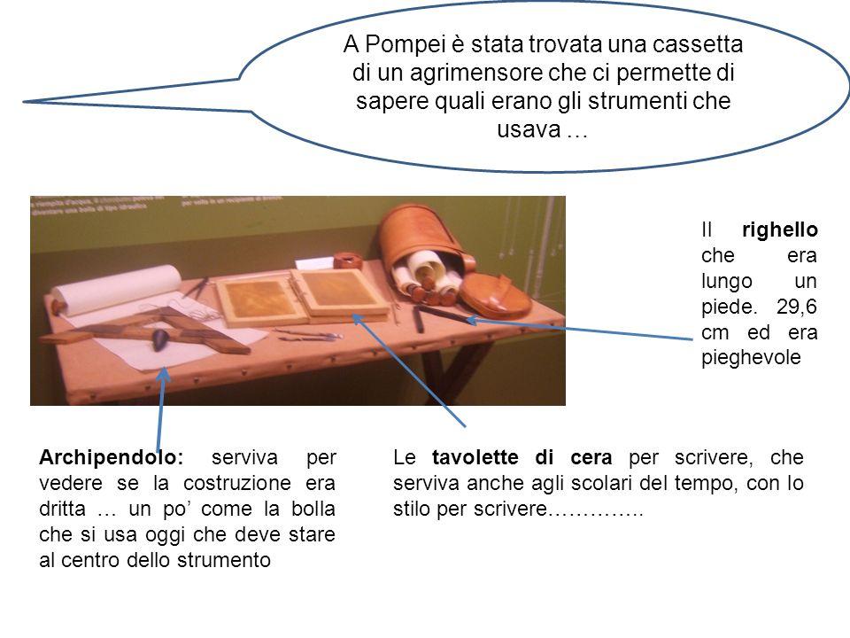 A Pompei è stata trovata una cassetta di un agrimensore che ci permette di sapere quali erano gli strumenti che usava …