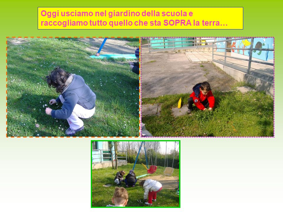 Oggi usciamo nel giardino della scuola e raccogliamo tutto quello che sta SOPRA la terra…