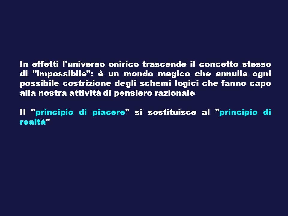 In effetti l universo onirico trascende il concetto stesso di impossibile : è un mondo magico che annulla ogni possibile costrizione degli schemi logici che fanno capo alla nostra attività di pensiero razionale