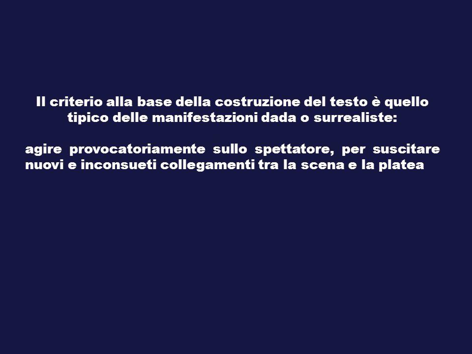 Il criterio alla base della costruzione del testo è quello tipico delle manifestazioni dada o surrealiste: