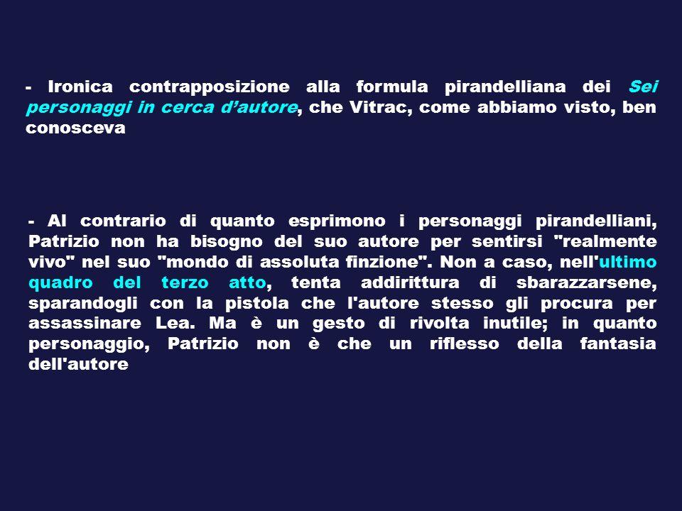 - Ironica contrapposizione alla formula pirandelliana dei Sei personaggi in cerca d'autore, che Vitrac, come abbiamo visto, ben conosceva